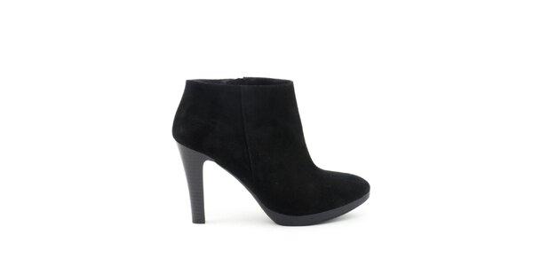 Dámské černé kotníčkové boty na vysokém podpatku Liberitae