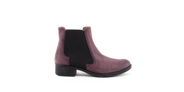 Dámské fialové kotníkové boty s elastickou vsadkou Liberitae