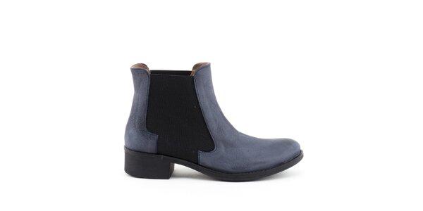 Dámské modré kotníkové boty s elastickou vsadkou Liberitae