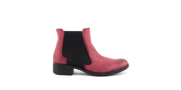 Dámské červené kotníkové boty s elastickou vsadkou Liberitae