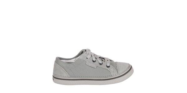 Chlapecké šedé kožené tenisky Crocs