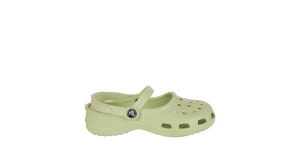 Dívčí zelenkavé pantofle s páskem Crocs