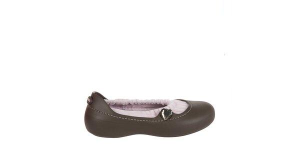 Dívčí čokoládově hnědé balerínky Crocs