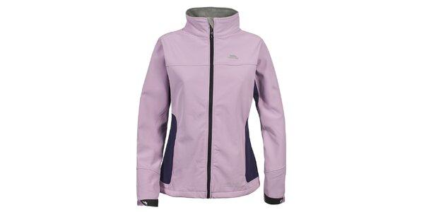 Dámská světle růžová sotfshellová bunda s fialovými prvky na bocích Trespass