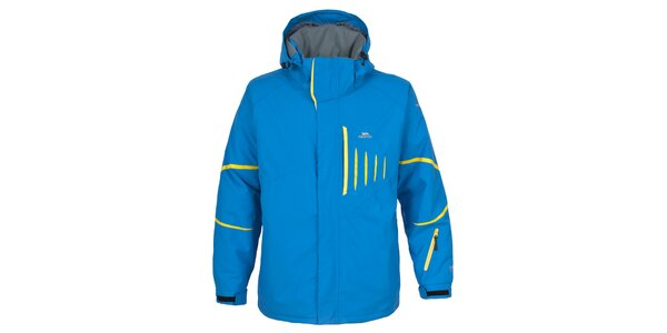 Pánská modrá lyžařská bunda se žlutými prvky Trespass