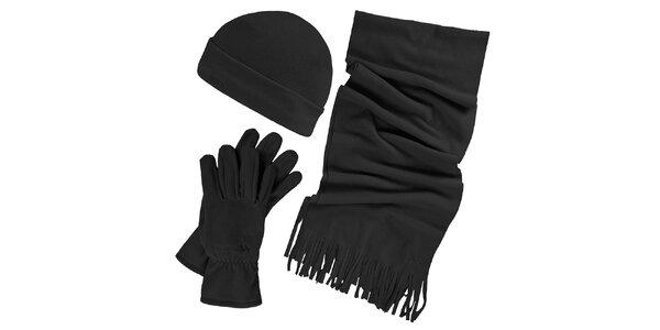 Dámský zimní fleecový set v černé barvě - čepice, šála, rukavice Trespass