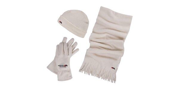 Dámský zimní fleecový set v krémové barvě - čepice, šála, rukavice Trespass