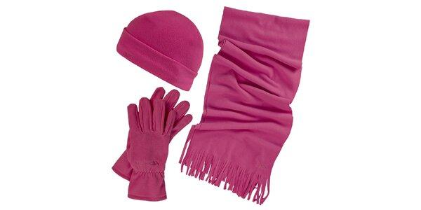 Dámský zimní fleecový set ve fuchsiové barvě - čepice, šála, rukavice Trespass