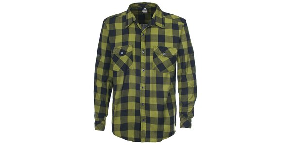 Pánská zelená košile s kostkovaným vzorem Trespass
