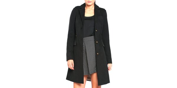 Dámský černý kabát na knoflíky Vera Ravenna