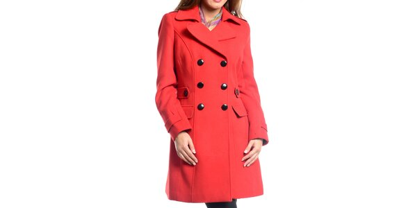 Dámský červený dvouřadý kabát Vera Ravenna
