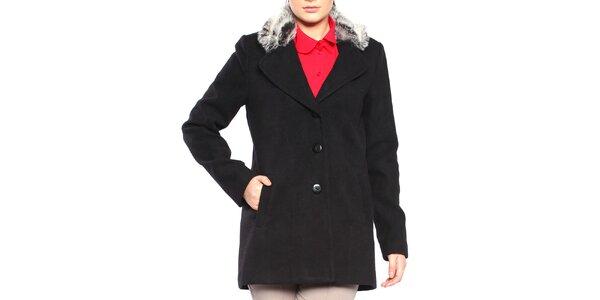 Dámský černý krátký kabát s kožíškem Vera Ravenna