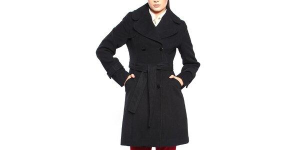 Dámský černý dvouřadý kabát s páskem Vera Ravenna