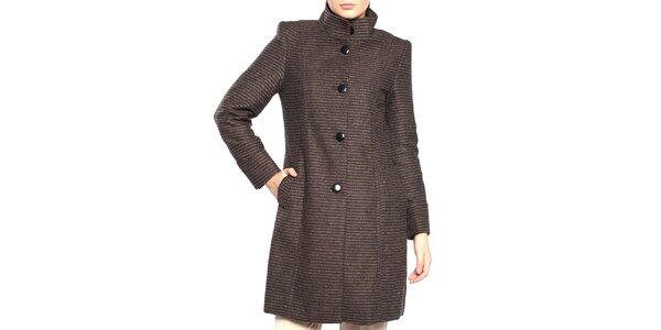 Dámský hnědý kabát s proužky Vera Ravenna