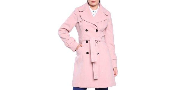 Dámský světle růžový dvouřadý kabát s páskem Vera Ravenna