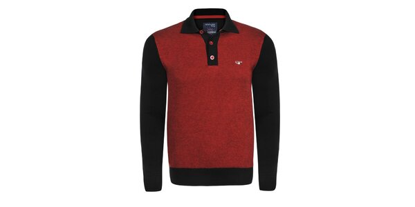 Pánský červeno-černý svetr s límečkem Giorgio Di Mare