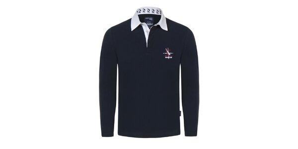 Pánské tmavě modré tričko s bílým límečkem Giorgio Di Mare
