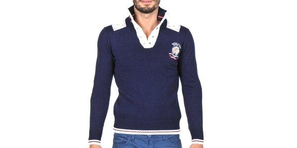 Pánský tmavě modrý svetr s bílými lemy Giorgio di Mare