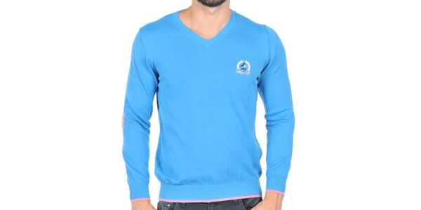 Pánský modrý svetr s kontrastními lokty Giorgio di Mare
