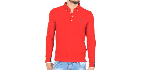 Pánské červené polo triko s dlouhým rukávem Giorgio di Mare