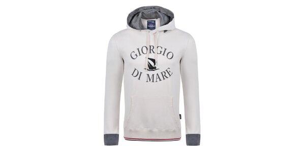 Pánská krémově bílá mikina s tmavým nápisem Giorgio di Mare