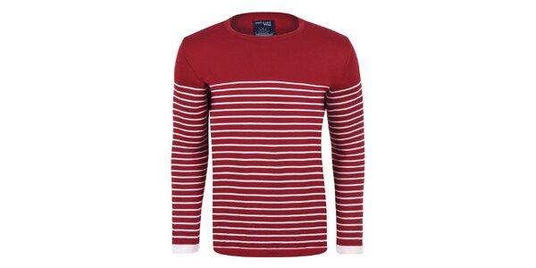 Pánský bordó svetr s proužky Giorgio Di Mare