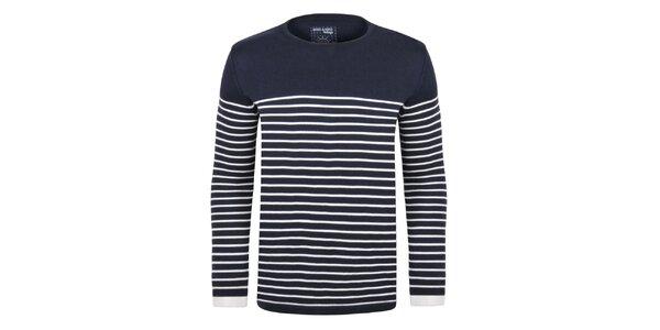 Pánský tmavě modrý svetr s proužky Giorgio Di Mare