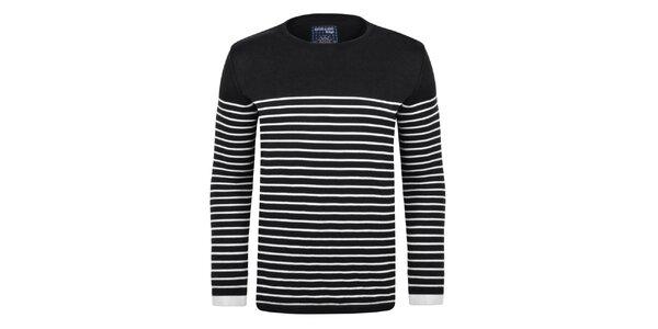 Pánský černý svetr s proužky Giorgio Di Mare