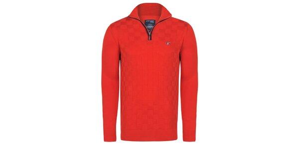 Pánský červený svetr s loketními nášivkami Giorgio di Mare