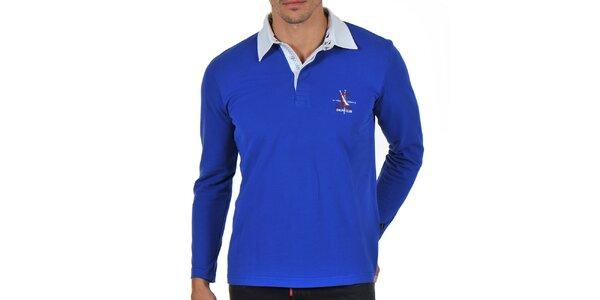 Pánské modré polo tričko s dlouhým rukávem Giorgio Di Mare