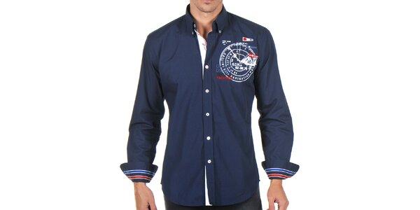 Pánská tmavomodrá košile s výšivkami Giorgio di Mare