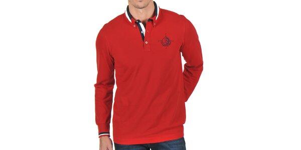 Pánské červené polo tričko s pruhovaným límečkem Giorgio Di Mare