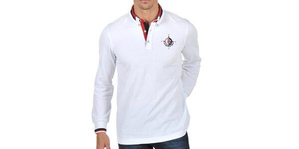 Pánské bílé polo tričko s pruhovaným límečkem Giorgio Di Mare