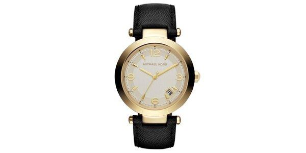 Dámské ocelové hodinky s černým koženým řemínkem a kulatým ciferníkem Michael…