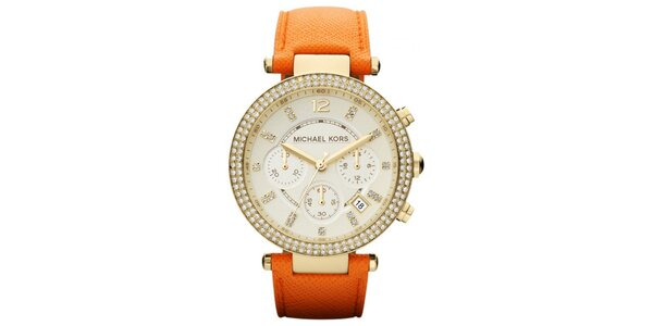 Dámské hodinky s oranžovým koženým řemínkem Michael Kors
