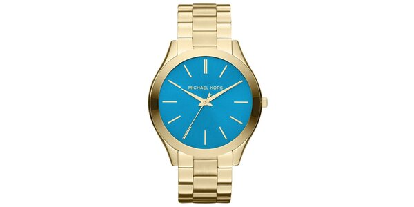 Dámské pozlacené ocelové hodinky s modrým ciferníkem Michael Kors
