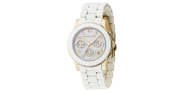 Dámské bílé hodinky s prvky ve zlaté barvě Michael Kors
