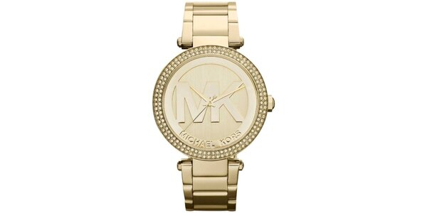 Dámské pozlacené hodinky s kamínky Michael Kors