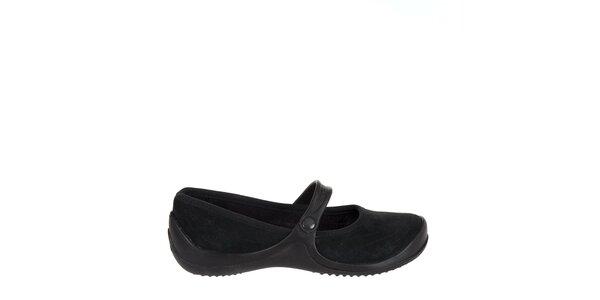 Dámské černé kožené baleríny Crocs