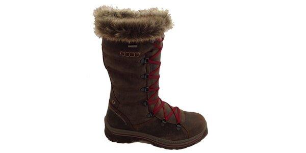 Dámské vysoké hnědé šněrovací boty Numero Uno