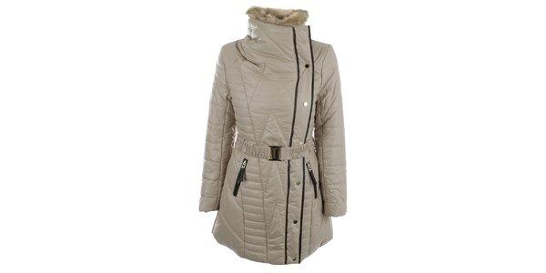 Dámský béžový kabát s kožíškovým límcem N & P