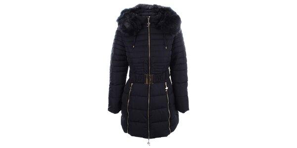 Dámský tmavě modrý kabát s páskem a kožíške Foglie Rosse