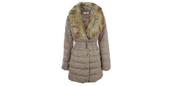 Dámský béžový kabát s velkým kožíškovým límcem Blue Deise