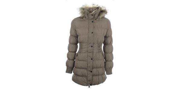 Dámský béžový prošívaný kabát s kožíškem Adrexx