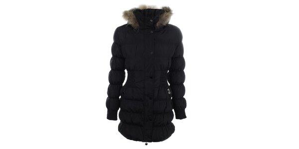 Dámský černý prošívaný kabát s kožíškem Adrexx