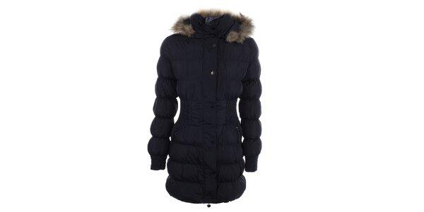 Dámský tmavě modrý prošívaný kabát s kožíškem Adrexx