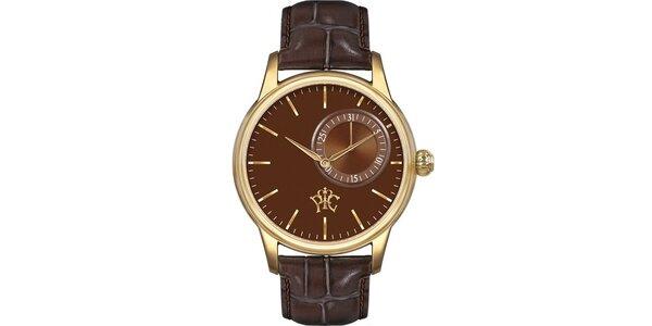 Pánské hodinky Premier hnědé, s datumem