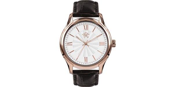 Pánské hodinky Casino černé s růžovozlatým ciferníkem