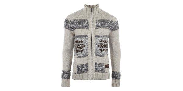 Pánský béžový svetr se vzorem a kapsami Gaudí