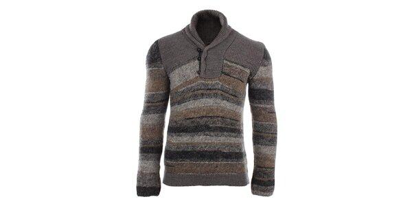 Pánský hnědý pruhovaný svetr s límcem Gaudí